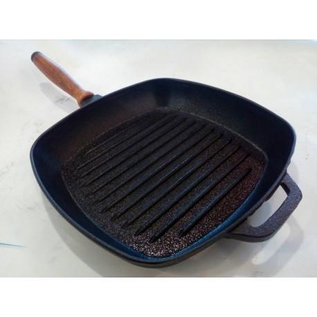 Чугунная сковорода гриль 260х260 мм